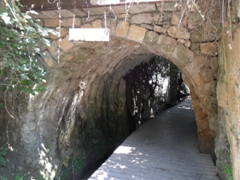 The arched Roman Bridge constructed of large hewn stones; Banias Nature Reserve
