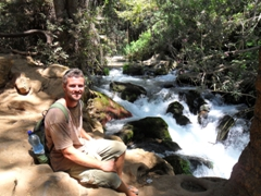 Robby enjoying our picnic spot at Banias Nature Reserve; Golan Heights