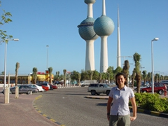 Becky standing in front of the Kuwaiti Towers