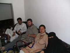 Enjoying the qat party with our Yemeni hosts