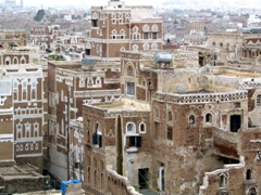 The first view of Sana'a will quicken your pulse, as you gaze in amazement at the multi-story buildings decorated with gypsum window frames styled in the most fantastic geometric patterns