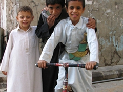 Friendly Sana'a boys pose for a picture