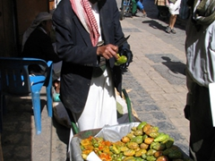 Trying out the local fruit (cactus pears), Sana'a