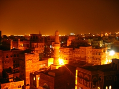 Magical Sana'a at night