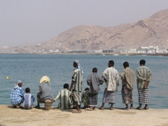 Locals chilling by the coast, Mukalla