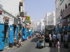 Mukalla's blue and white decor, city suq