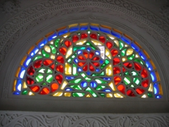 Stained glass window; a common sight in Yemeni houses
