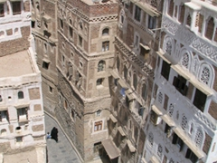 Bird's eye view of Sana'a, taken from our Taj Talha room window