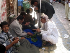 Bartering over the price of Qat, Sana'a