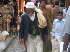 Old man wearing his jambiya (Yemeni dagger) in the Jambiya suq, Sana'a