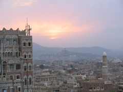 Sana'a at sunset from Taj Talha Mafraj