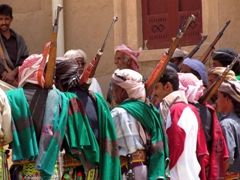 Close up view of the male members of a wedding party, Wadi Douan