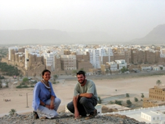 "Becky and Robby on the hill top overlooking the ""Manhattan of the Desert""; Shibam"