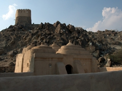 View of the oldest mosque in the UAE, made entirely of mud and stone; Al Badiyah Mosque in Fujairah