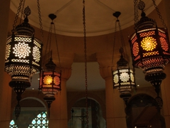 Lanterns adorn the central dome of Sharjah's Museum of Islamic Civilization