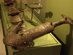Intricate detail of a curved dagger; Sharjah Museum of Islamic Civilization