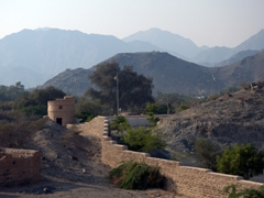 View of the fort walls and lookout tower; Fujairah Fort
