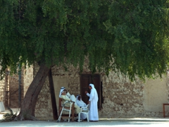 Locals beating the midday heat beneath a shady tree; outside the Souq al-Arsa