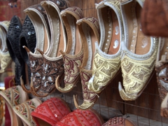 Curly toed slippers for sale; Souq al-Arsa in Sharjah
