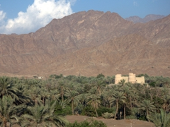 View of Bitna Oasis and its 16th Century Portuguese Fort; Fujairah