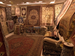 Carpets from Iran, Afghanistan and Turkey on display at the Blue Souq; Sharjah