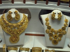 Massive gold jewelry sets for sale; Blue Souq in Sharjah