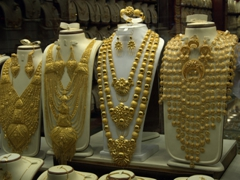 Fanciful gold necklaces for sale; Gold Souq section of Sharjah's Blue Souq