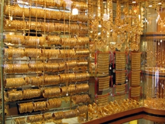 The Dubai Gold Souk showcases an obscene amount of gold, as store after store displays a bewildering amount of 22 carat gold for sale