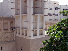 View of a wind tower, used to create natural ventilation in buildings; Heritage House