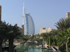 The 321 meter tall Burg Al Arab towers over the Madinat Jumeirah Resort complex