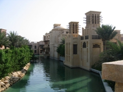 The Madinat Jumeirah is a sprawling 5 star resort with over 5 KM of waterways that are linked by water taxis