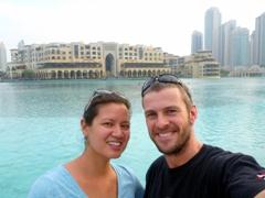 Posing in front of Burj Khalifa Lake