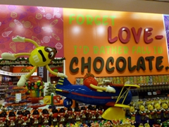 The message is clear at the chocolate section of a massive candy store in the Dubai Mall