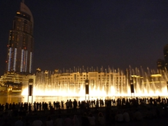The magnificent light and music display at the Dubai Fountain