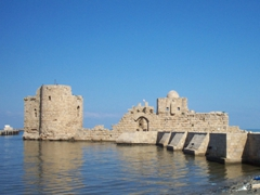 The Crusader sea castle of Qasr al-Bahr sits about 80 meters off the coast of Sidon (Saida), and is connected to the mainland by a causeway (the Crusaders used wood for the causeway so they could remove it during times of attack)