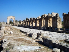 View of an old Roman road leading up to a triumphal arch; Al-Bass ruins, Tyre