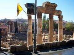 Roadside view of Baalbek, the finest Roman ruins in Lebanon