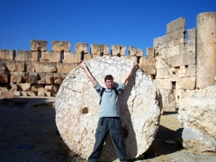 Robby shows how massive some of the columns of Baalbek are