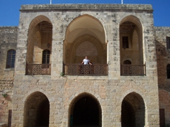 Becky at the upper balcony of Beiteddine Palace, a magnificent 19th Century palace; outskirts of Beirut