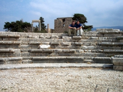 Sitting in an ancient amphitheater, Byblos archeological site