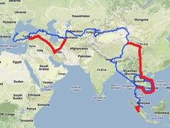 Overland route from Istanbul to Singapore (original route in blue; changes highlighted in red)