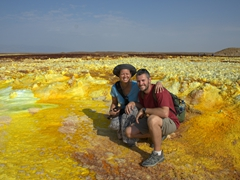 Striking a pose in colorful Dallol; Ethiopia