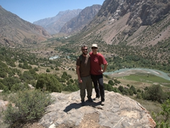 Halfway up the mountain with the Karakul River off in the distance