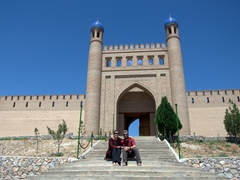 Sitting in front of Mugh Tappa (Mughtepa), the old citadel that dominates the town of Istaravshan