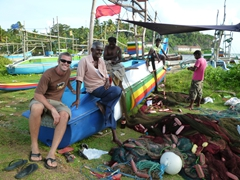Robby befriending fishermen near Hikkaduwa
