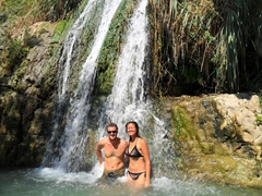 Cooling down in David's Waterfall; Ein Gedi Nature Reserve