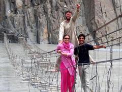 We survived the Hussaini Bridge...a triumphant group photo celebrating our crossing!