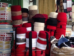 Red felt hats for sale at the Souq des Chechias