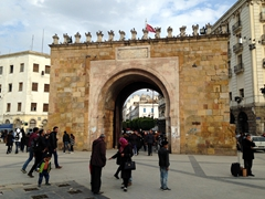 Bab Bhar (Porte de France) is a free standing arch that marks the eastern gateway to Tunis' medina