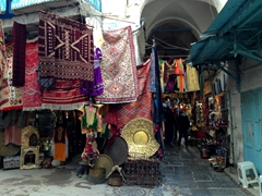 Eye catching carpets for sale on Rue Jemaa Zaytouna